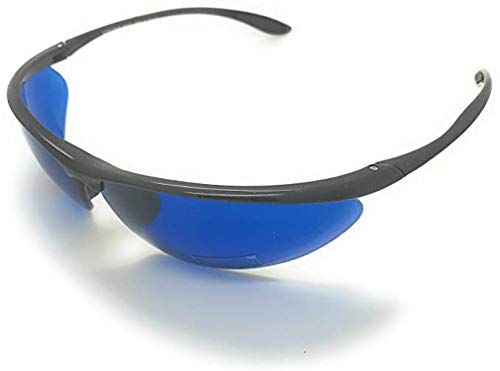 Golf Ball Finder Locating Glasses Sports Style Blue Lens Sunglasses%100 UV production (63mm, 2 pac-Black&Silver)