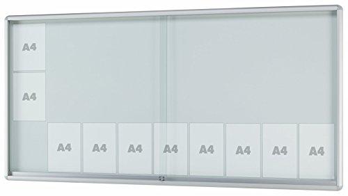 Schaukasten MOVEO - gerundeter Schaukasten für den Innenbereich, ESG-Sicherheitsglas, Rahmen aus Alu - div. Größen von 8 x DIN A4 bis 27 x DIN A4 | Brandschutz + Unfallschutz | (27 x DIN A4 Außenmaße BxHxT: 2055x1030x50mm)