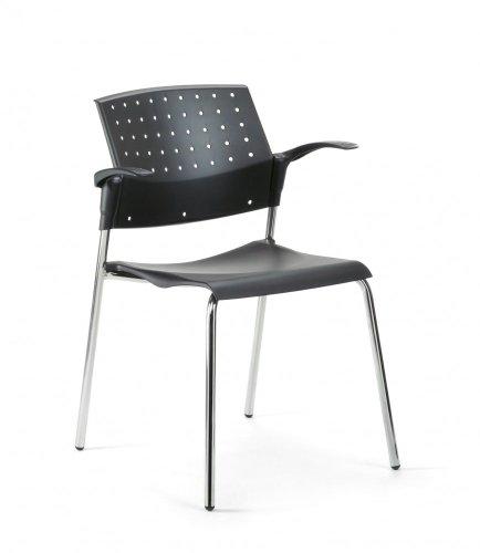 Mayer Sitzmöbel Stuhl Objektstuhl Stapelstuhl 2576 Gestell chrom Sitz-/ Rücken Kunststoff mit oder ohne Armlehnen Sitz-/Rücken Kunststoff schwarz ohne Armlehnen