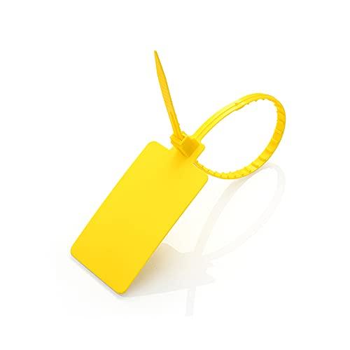 Muka - Confezione da 100 guarnizioni per etichette in plastica, autobloccanti, per identificare i bagagli o magazzino, Giallo (Giallo) - PSSK-CM89112_YELLOW-L