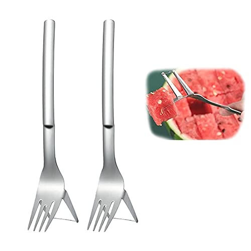 2Pcs Watermelon Slicer Fork Stainless Steel Cutter, Multi-Purpose Watermelon Fruit Cutting Fork, Carving And Cutting Utility Knife for Home Fruit Party