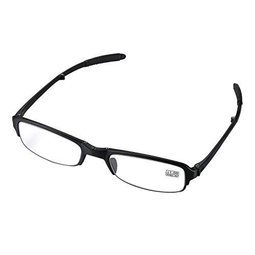 aroncent Dioptrie 1.00–4.00Lesebrille faltbar Kunststoff Harz Herren Damen Ermüdungsmatte Ultraleicht schwarz, Dioptrie wählbar Diottria 3.00