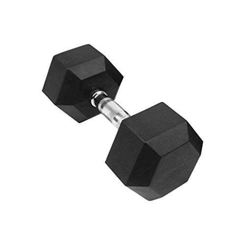 Wenini Barbell Hex Rubber Dumbbell with Metal Handles Dumbbell - Hex Rubber Shaped Heads to Prevent Rolling and Injury - Ergonomic Hand Weights for Exercise, Therapy, Building Muscle (30lb(1PC))