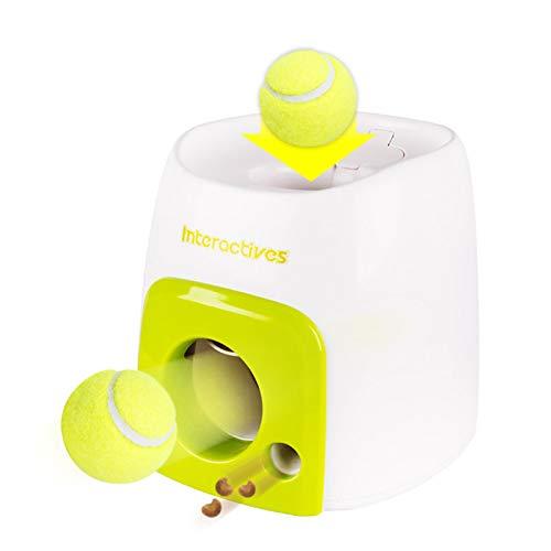 Máquina de recompensa de comida de tenis de doble orificio de juguete para mascotas, fugas de tenis de alimentación inteligente de entrenamiento interactivo para perros
