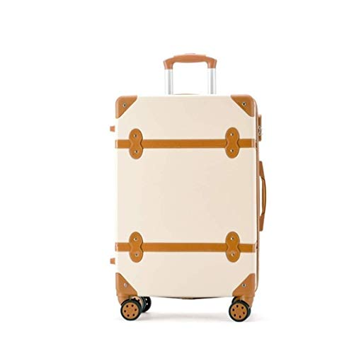 ROLLMNB Luggage Carryon Suitcase Travel, Classic Trolley Luggage with Spinner Wheels, Lightweight, 20 and 22 Inch, Beige (Size : 20 inch)