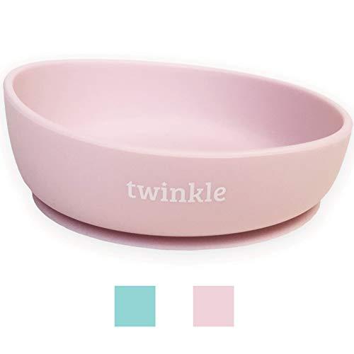 Twinkle Magic Bowl - Ciotola in silicone con ventosa per bebè, piatto per bambini, antiscivolo, con ventosa per imparare i bambini rosa