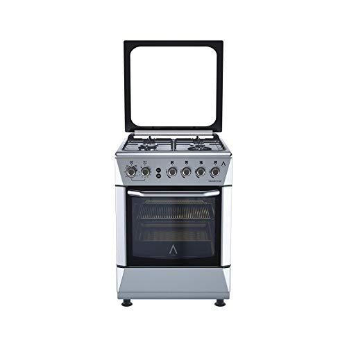 ALPHA Cocina de Gas VULCANO 3D-60 Inox, Encendido automático, corte de gas seguro y temporizador en horno. **Alta Gama**