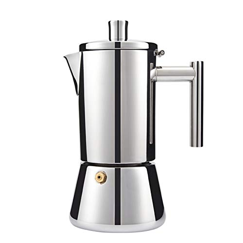 LESOYA Stovetop Espresso Maker Moka Pot Stainless Steel Italian Coffee Maker Machine,3-4 Cups Moka Pot for Induction gas or electric stoves (200ml)