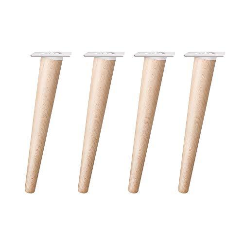 4un. Pata cónica Inclinada pie mueble nórdico mesa escandinava en madera haya natural en crudo sin barnizar. Altura 300mm. Plato blanco