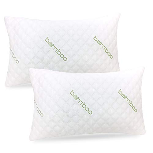 Bamboo Pillow (2-Pack) - Premium Pillows for Sleeping - Shredded Memory Foam Pillow with Washable Pillow Cover - Adjustable Loft - (Queen)
