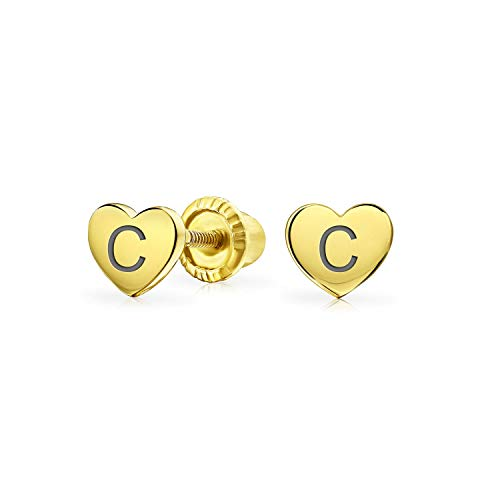 Personalized Initial Letter C Minimalist Real Yellow 14KGold Screwback Alphabet Initials C Solid Heart Shaped Stud Earrings For Women Teen Girlfriend Custom Engraved