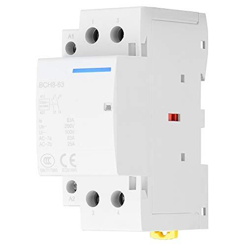 Contactor de CA, 2P 2NO 63A 24V 220V/230V 50/60Hz Contactor de CA doméstico Montaje en carril DIN de 35 mm para aplicaciones domésticas(220V/230V)