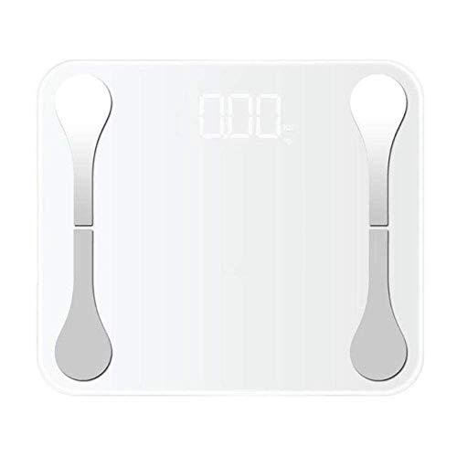 BINGFANG-W Discs Waage Personenwaage, Bodenkörpergewicht Waage, Bluetooth intelligente digitale Skala, LCD Fettwaagen, App Android oder iOS, USB-Lade, 180Kg, Weiss Abrasive