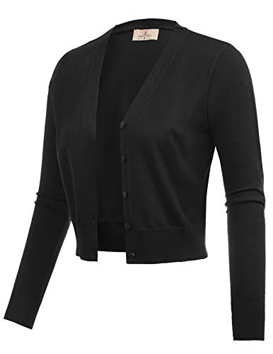 GRACE KARIN Women Long Sleeve Short Bolero Shrug Sweater Black Size S CL2000-1