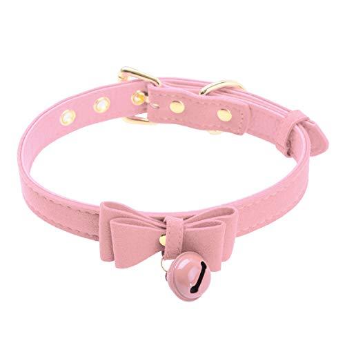 Alvivi Bijoux Collier en Cuir PU avec Grelot Métal Noeud pour Femme Ras de Cou Bandage Réglable SM Ceinture Accessoire de BDSM Rose Taille unique