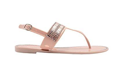 Gold Toe Ladies Flip Flops Size 5-6 M US Jelly Metallic T-Strap Sandal Embellished with Rhinestone Strap Slip On Shoe Blush