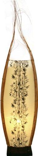 Guru-Shop Stehlampe/Stehleucht, in Bali Handgemacht aus Naturmaterial - Modell Batavia, Baumwollstoff, 80x30x15 cm, Stehleuchten aus Naturmaterialien