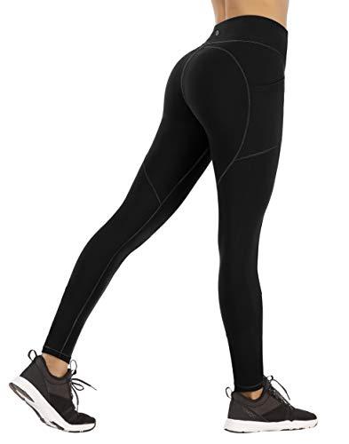 Ewedoos Yoga Pants for Women with Pockets Gym Leggings Women High Waisted Sports Leggings with Pockets Women (EW330 Black, Large)