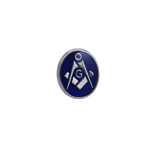 Plaqué rhodium 12x10mm ovale polymérisation à froid émail maçonnique par 'G' épingle à cravate