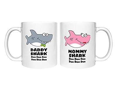 Mommy Shark Daddy Shark Doo doo doo Coffee mug Set Gift For Valentine's Day