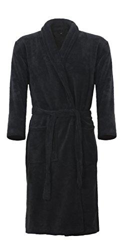 Mack Klassischer Bademantel in Farbe schwarz Größe XXL wadenlang Unisex – für Damen und Herren