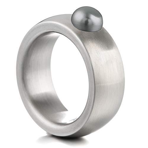 Heideman Ring Damen Coma 8 aus Edelstahl Silber farbend matt Damenring für Frauen mit Swarovski Perle schwarz im Cabochon Edelsteinschliff 6mm