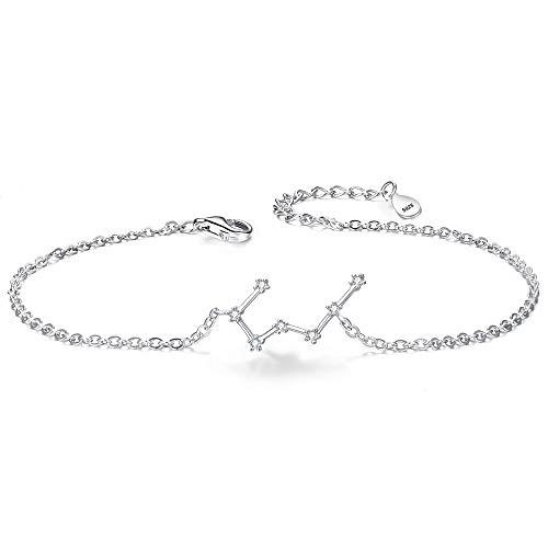 Clearine Armkette Sternzeichen 925 Sterling Silber CZ 12 Sternbild ''Stier'' Einfach Stil Armband für Damen Mädschen
