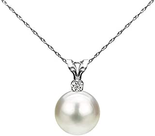 White Cultured Freshwater Pearl Diamond Pendant Necklace 14K Gold 7-7.5mm (G-H, SI1-SI2) - Choice of Gold Color