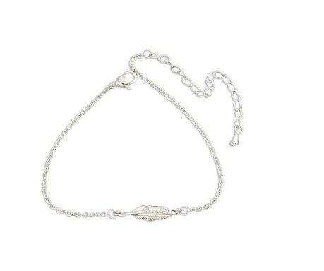 Phonillico Armband, fijne ketting, met bedel, veer, zilverkleurig, staal, modesieraad, modesieraad voor dames, schoonheid, grootte verstelbaar 15-21 cm
