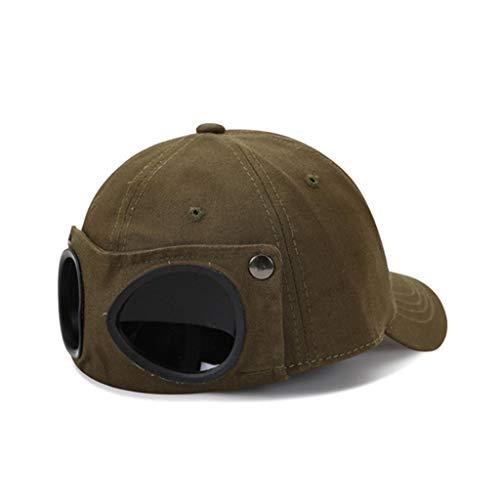 niumanery Unisex Pilot Glasses Goggles Baseball Cap Harajuku Hip Hop Sunglasses Peaked Hat Army Green