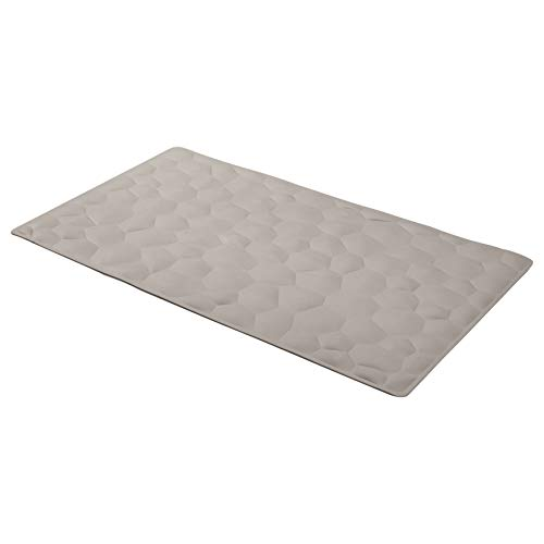 AmazonBasics Non-Slip Rubber Bath Mat with Pebble Texture - Light Grey, 27.5 x 15.7 Inch