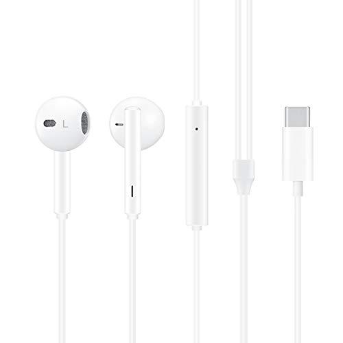 ZERKAR USB C Kopfhörer, In Ear USB Typ C Kopfhörer, Stereo Wired USB Typ C Ohrhörer mit Mikrofon & Lautstärkeregler, Kompatibel mit Google Pixel 3XL/3/2XL/2, Huawei P30/Mate20, Pad Pro, Samsung S10