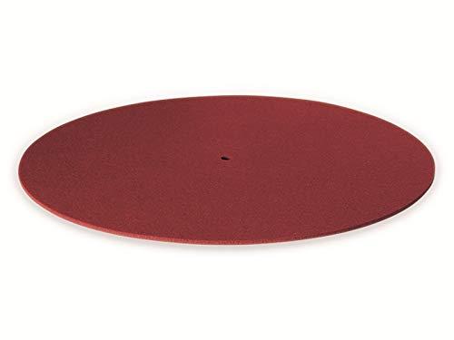 Dynavox Plattenteller-Auflage PM2 für Plattenspieler, antistatischer Filz, 30 cm Durchmesser, Rot