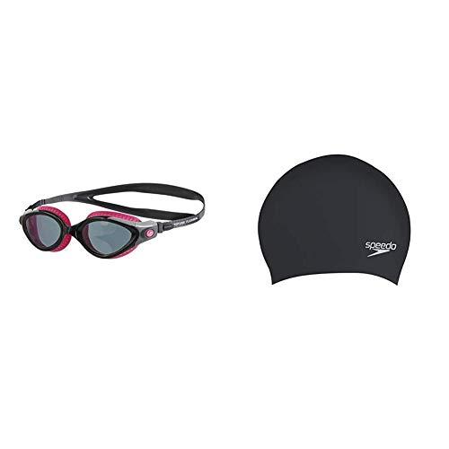 Speedo Futura Biofuse Flexiseal para Mujer Gafas de Natación, Rosa/Gris, Talla Única + Gorro de natación para cabello largo