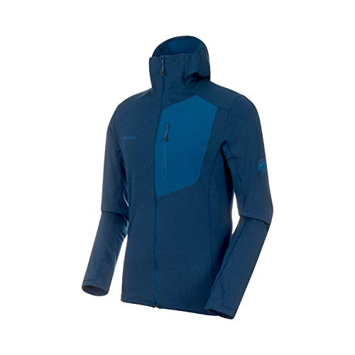Mammut - Men's Aconcagua Light Midlayer Hooded Jacket, Poseidon Melange, Medium