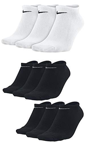 9 Paar Nike Sneaker-Socken NoShow Sortiert Schwarz/Weiß in allen Größen (3 Paar Weiß + 6 Paar Schwarz, L)