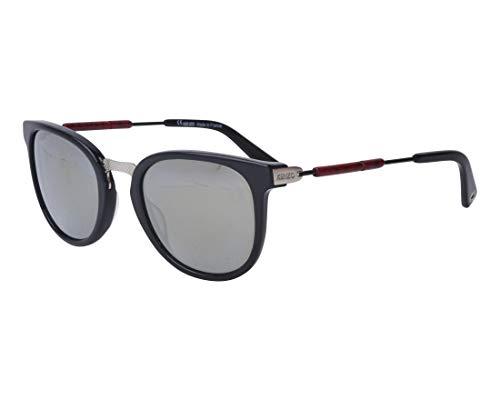 Kenzo Sonnenbrillen (KZ-5115 C01) glänzend schwarz - silber - grau mit silber verspiegelt effekt