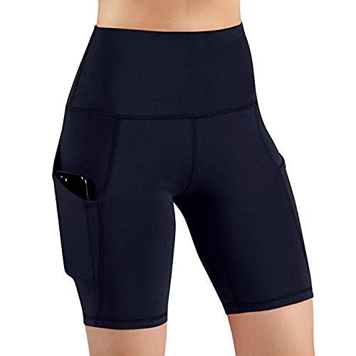 Bluestercool Femme Short de Sport Haute Elasticité Souple Femme Pantalon avec Poches pour Gym Yoga Fitness Course Tennis Sports Jogging Pantalons