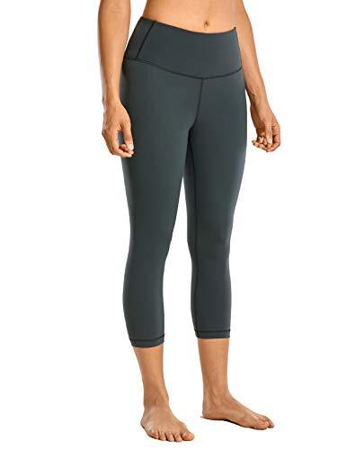 CRZ YOGA High Waisted Yoga Pants Women's Workout Capris Athletic Leggings with Pocket Luxury Naked Feeling-17 Inches Melanite - 17'' Small