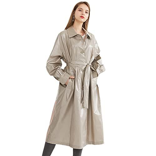 POKEM & HENT 여성 100 % 코튼 반짝이 단일 브레스트 트렌치 코트