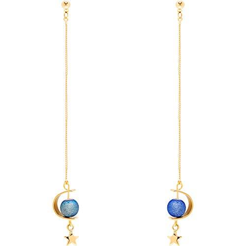 Blauwe planeet lange oorlijn eenvoudig temperament kwast oorbellen ring oorbellen vrouwelijk