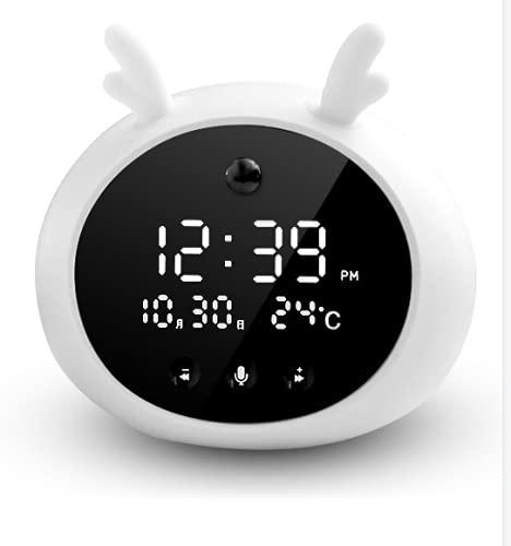 shihang Despertador Digital Infantil, Relojes Despertador con Luz De Noche para Niños Y Niñas, Silenciosa Cabecera Lindo Despertador Infantil,Blanco