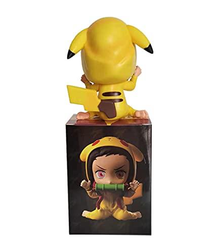 MaiQiLai 9cm Figura de Anime Demon Slayer Kimetsu No Yaiba Kamado Nezuko Juguetes Lindos para niños Modelo Coleccionable Muñeca de PVC Cumpleaños Anime Regalo Adornos de Escritorio Juguetes Estatuas