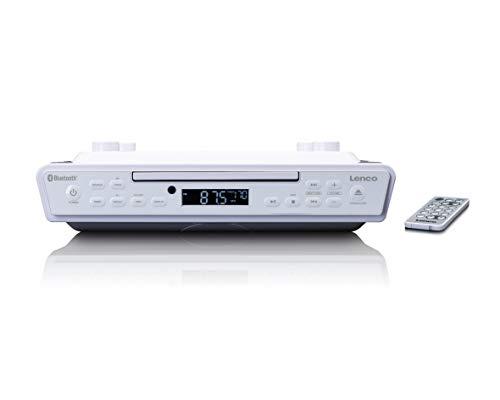 Lenco KCR-150 CD-Unterbau UKW Küchenradio - Bluetooth - Senderspeicher - 2 x 3 Watt RMS -Unterbau-Montage-Kit - AUX-In Eingang - Timer Funktion - Weiß