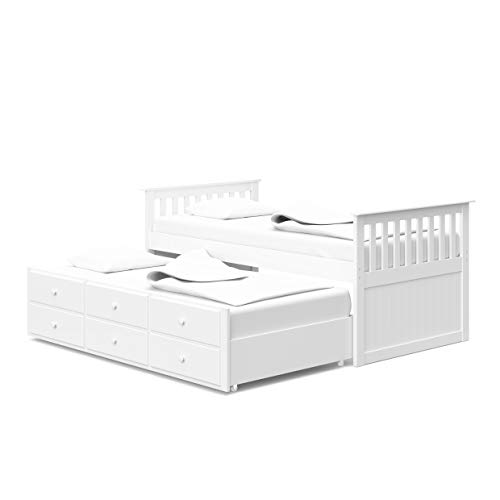 StorkCraft Marco Island Captain's Bed with Trundle and Drawers - Twin (White)