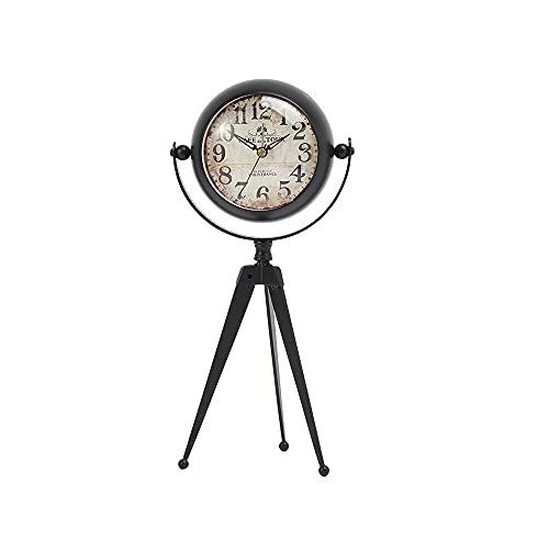 GARNECK Reloj Despertador Analógico Retro Antiguo con Trípode Reloj de Mesa de Movimiento de Cuarzo sin Tictac para Sala de Estar Decoración de Dormitorio sin Batería L
