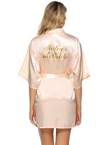 Vlazom Bride Bridesmaid Robes Satin Kimono Bridal Party Robe Dressing Gown, Morning of Wedding Day Robes with Gold Glitter