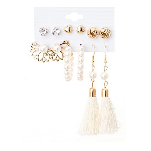Pendientes de aro para mujer con borla y perlas, estilo vintage