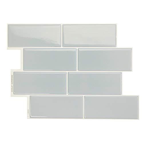 Smart Tiles - Self Adhesive Wall Tiles - Metro Mia - 4 Sheets of 11.56' x 8.38' (29.36 cm x 21.29 cm) Kitchen and Bathroom Stick on Tiles - 3D Peel and Stick Backsplash