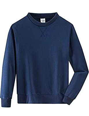 Spring&Gege Youth Basic Sport Crewneck Pullover Sweatshirts for Boys and Girls Size 7-8 Years Navy Blue